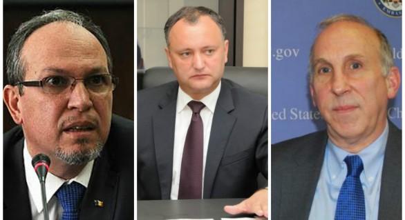 """(DOC) Exclusiv: Schimb dur de """"amabilități"""" între președintele Dodon și ambasadorii SUA și României"""