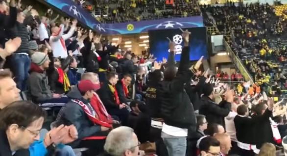"""(VIDEO) Lecție de solidaritate a suporterilor AS Monaco: Au scandat minute în șir """"Dortmund! Dortmund!"""""""
