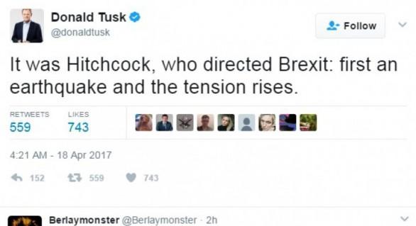 """Donald Tusk, ironic, după anunţul Theresei May, privind alegerile: """"Hitchcock a regizat Brexit-ul"""""""