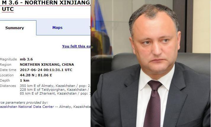 Dodon transmite condoleanţe preşedintelui Chinei, după un cutremur nesemnificativ de 3,6 pe Richter