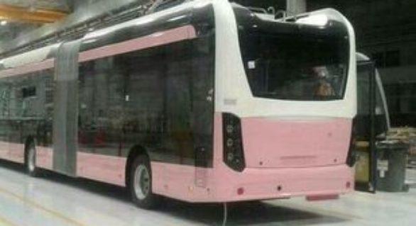 Troleibuze roz exclusiv pentru femei într-un oraş din străinătate