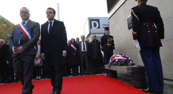 Omagiu victimelor atentatelor din 13 noiembrie 2015. Președintele francez Emmanuel Macron şi soţia sa, prezenţi la ceremonii