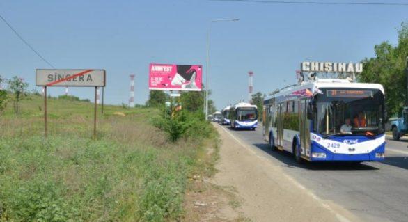 Noua linie de troleibuz care face legătura între Chișinău și Sângera a fost lansată azi