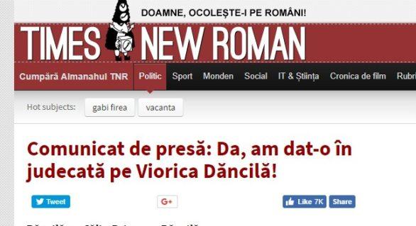 Premierul român, Viorica Dăncilă, acționat în judecată de portalul umoristic Times New Roman: Aduce atingere demnității noastre