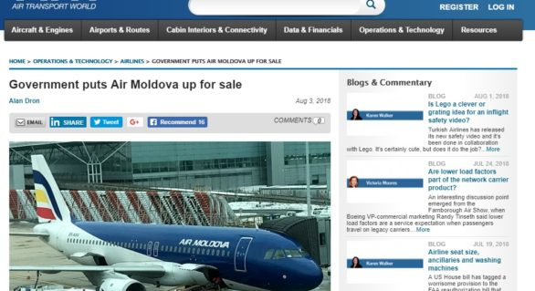 Intenția Guvernului de a privatiza cu doar 48 de mln. lei compania Air Moldova, bagă din nou țara în gura presei internaționale