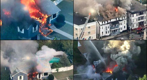 Scene ca de război în Boston! Zeci de case explodează din cauza unor scurgeri de gaze