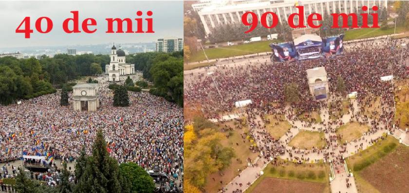 (FOTO) Cum calculează poliția numărul cetățenilor din PMAN: 40 de mii la protestul lui Năstase și 90 de mii la Adunarea lui Plahotniuc